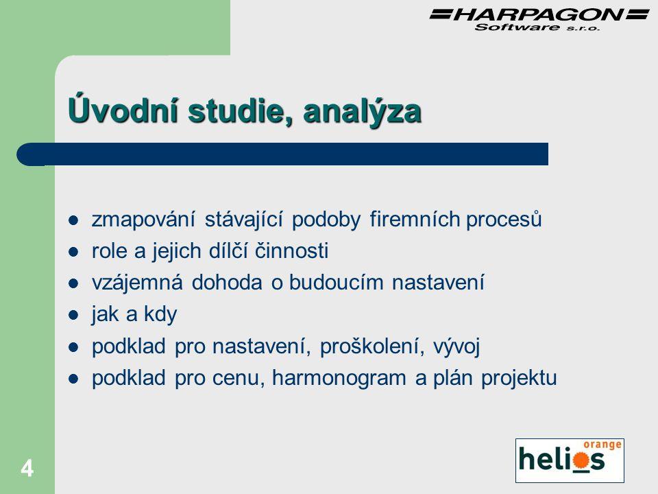 5 Nastavení instalace HW,SW procesů struktur společnosti číselníků importů relací obecné proškolení obsluhy