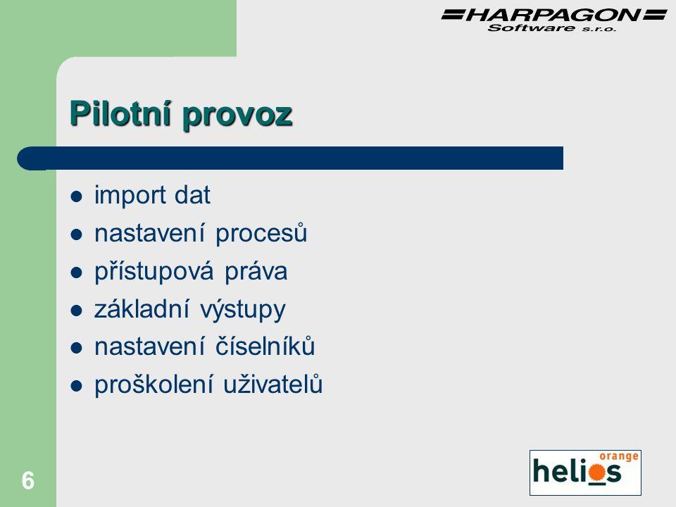 6 Pilotní provoz import dat nastavení procesů přístupová práva základní výstupy nastavení číselníků proškolení uživatelů