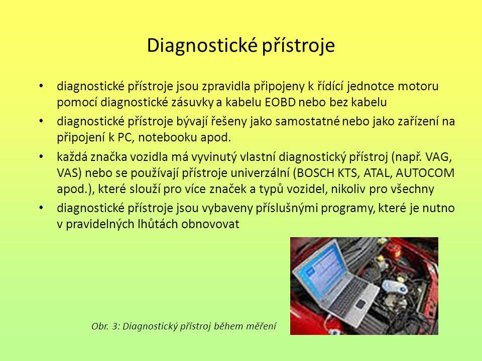 Diagnostické přístroje diagnostické přístroje jsou zpravidla připojeny k řídící jednotce motoru pomocí diagnostické zásuvky a kabelu EOBD nebo bez kab