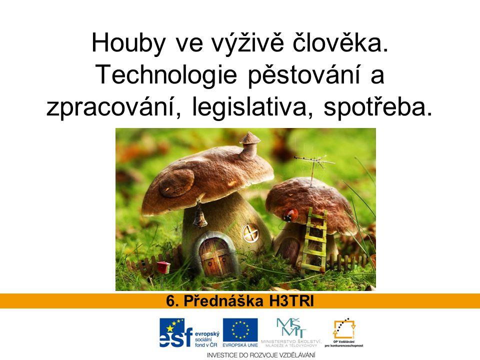 OBSAH PŘEDNÁŠKY Obecná charakteristika hub Využití v potravinářství Chemické složení a nutriční hodnota hub Produkce a spotřeba Technologie pěstování Zpracování hub Skladování hub Požadavky na houby
