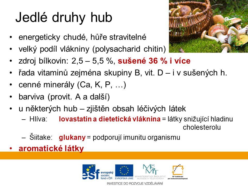 Jedlé druhy hub energeticky chudé, hůře stravitelné velký podíl vlákniny (polysacharid chitin) zdroj bílkovin: 2,5 – 5,5 %, sušené 36 % i více řada vitaminů zejména skupiny B, vit.