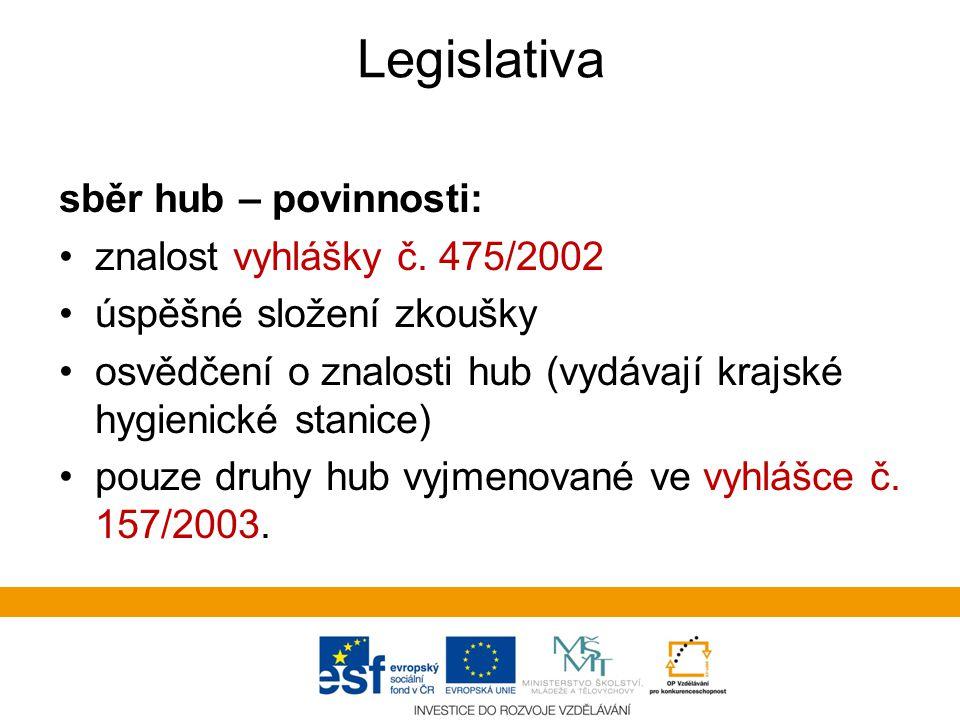 Legislativa sběr hub – povinnosti: znalost vyhlášky č.