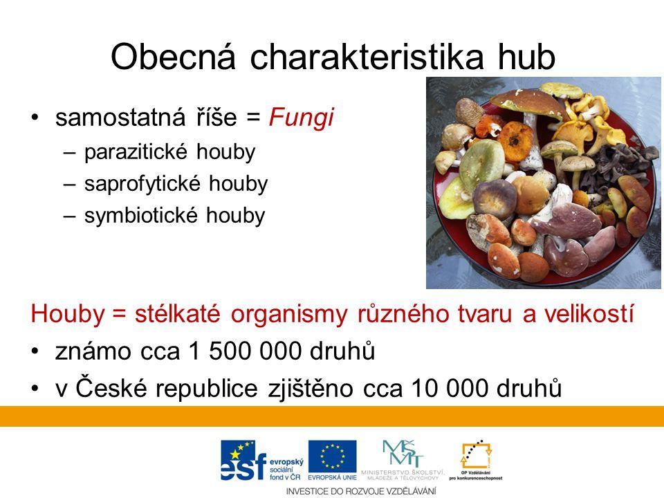 Obecná charakteristika hub samostatná říše = Fungi –parazitické houby –saprofytické houby –symbiotické houby Houby = stélkaté organismy různého tvaru a velikostí známo cca 1 500 000 druhů v České republice zjištěno cca 10 000 druhů