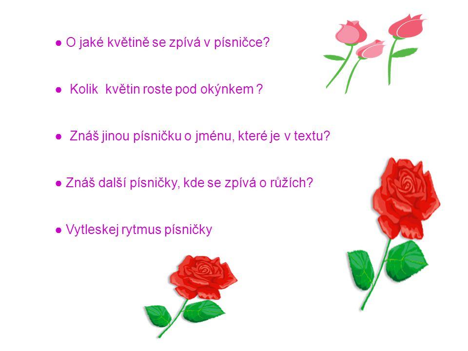● O jaké květině se zpívá v písničce? ● Kolik květin roste pod okýnkem ? ● Znáš jinou písničku o jménu, které je v textu? ● Znáš další písničky, kde s