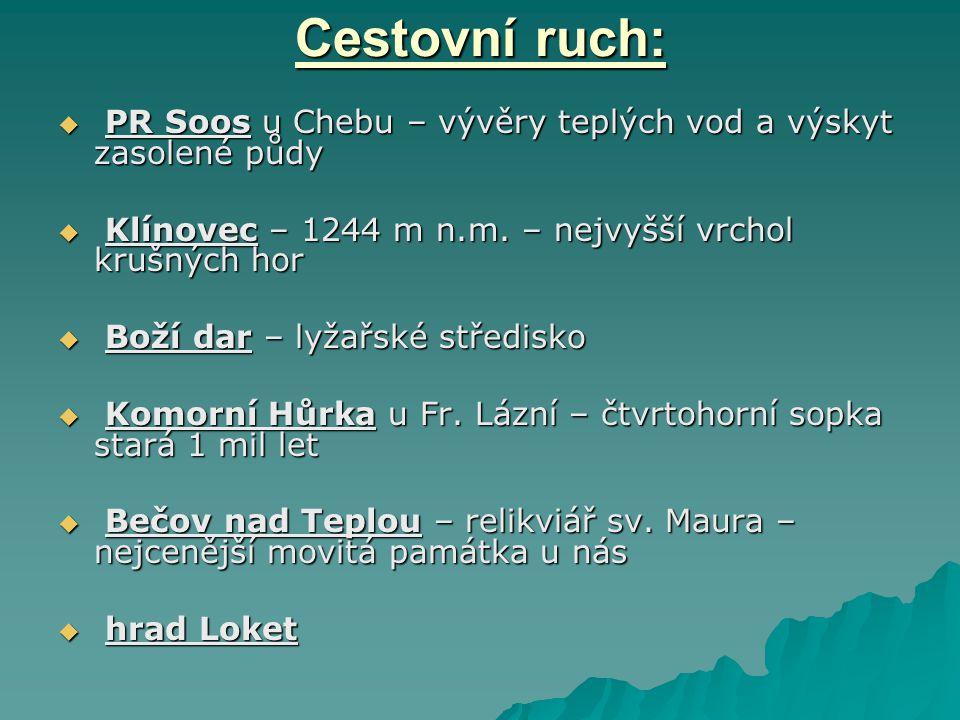 Cestovní ruch:  PR Soos u Chebu – vývěry teplých vod a výskyt zasolené půdy  Klínovec – 1244 m n.m. – nejvyšší vrchol krušných hor  Boží dar – lyža