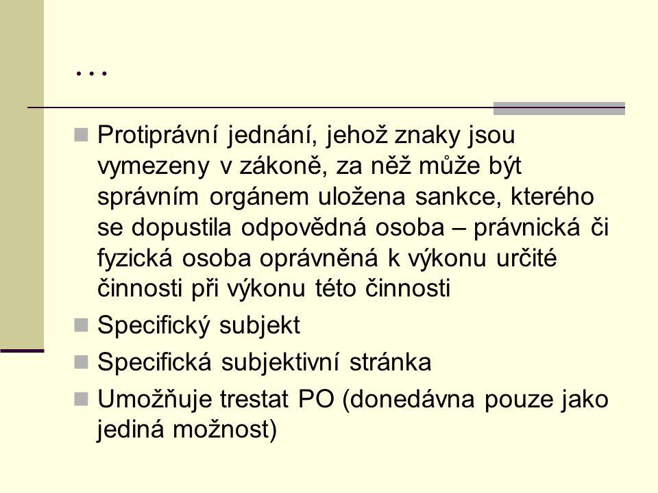 … Protiprávní jednání, jehož znaky jsou vymezeny v zákoně, za něž může být správním orgánem uložena sankce, kterého se dopustila odpovědná osoba – prá