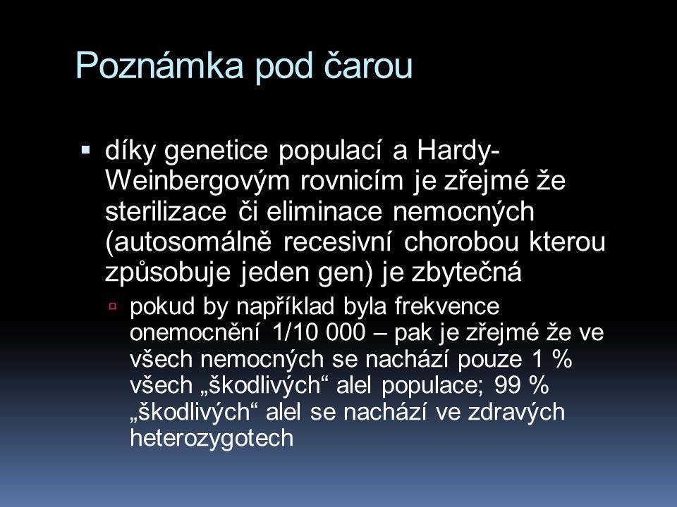 """Poznámka pod čarou  díky genetice populací a Hardy- Weinbergovým rovnicím je zřejmé že sterilizace či eliminace nemocných (autosomálně recesivní chorobou kterou způsobuje jeden gen) je zbytečná  pokud by například byla frekvence onemocnění 1/10 000 – pak je zřejmé že ve všech nemocných se nachází pouze 1 % všech """"škodlivých alel populace; 99 % """"škodlivých alel se nachází ve zdravých heterozygotech"""