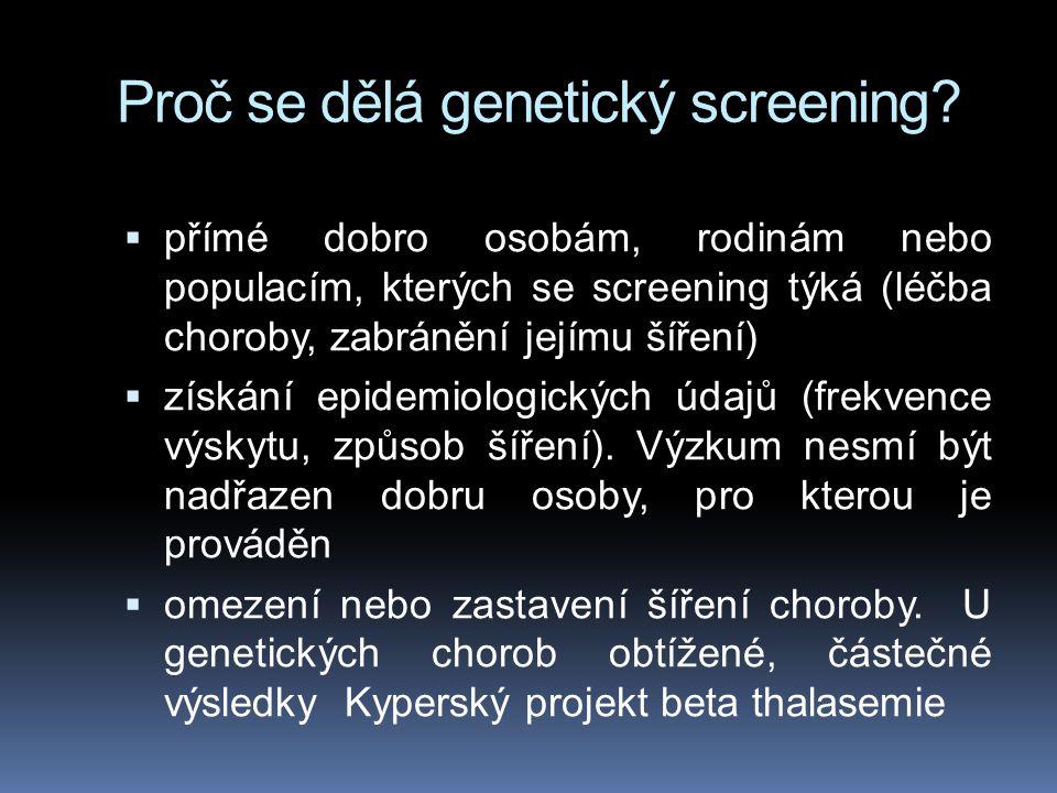 Proč se dělá genetický screening.