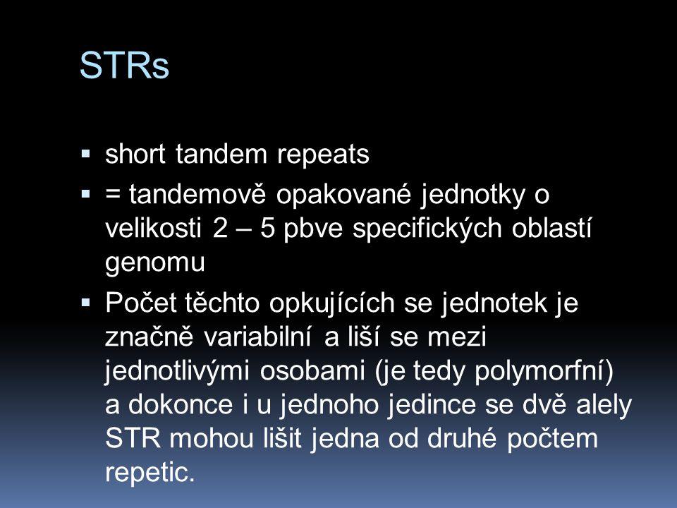 STRs  short tandem repeats  = tandemově opakované jednotky o velikosti 2 – 5 pbve specifických oblastí genomu  Počet těchto opkujících se jednotek je značně variabilní a liší se mezi jednotlivými osobami (je tedy polymorfní) a dokonce i u jednoho jedince se dvě alely STR mohou lišit jedna od druhé počtem repetic.