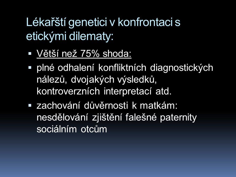 Lékařští genetici v konfrontaci s etickými dilematy:  Větší než 75% shoda:  plné odhalení konfliktních diagnostických nálezů, dvojakých výsledků, kontroverzních interpretací atd.