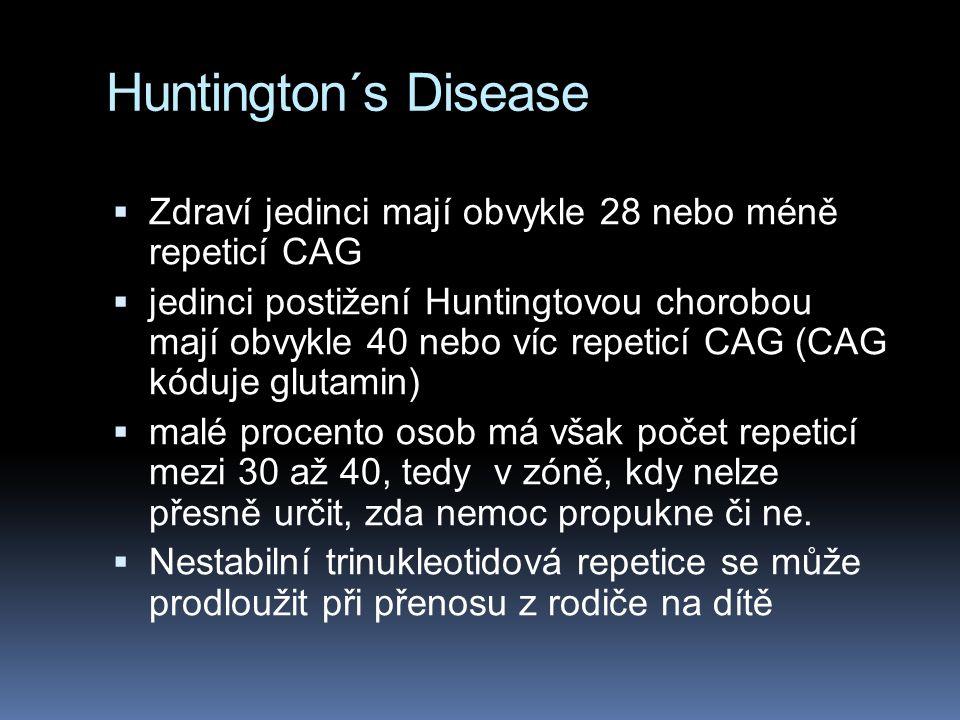 Huntington´s Disease  Zdraví jedinci mají obvykle 28 nebo méně repeticí CAG  jedinci postižení Huntingtovou chorobou mají obvykle 40 nebo víc repeticí CAG (CAG kóduje glutamin)  malé procento osob má však počet repeticí mezi 30 až 40, tedy v zóně, kdy nelze přesně určit, zda nemoc propukne či ne.