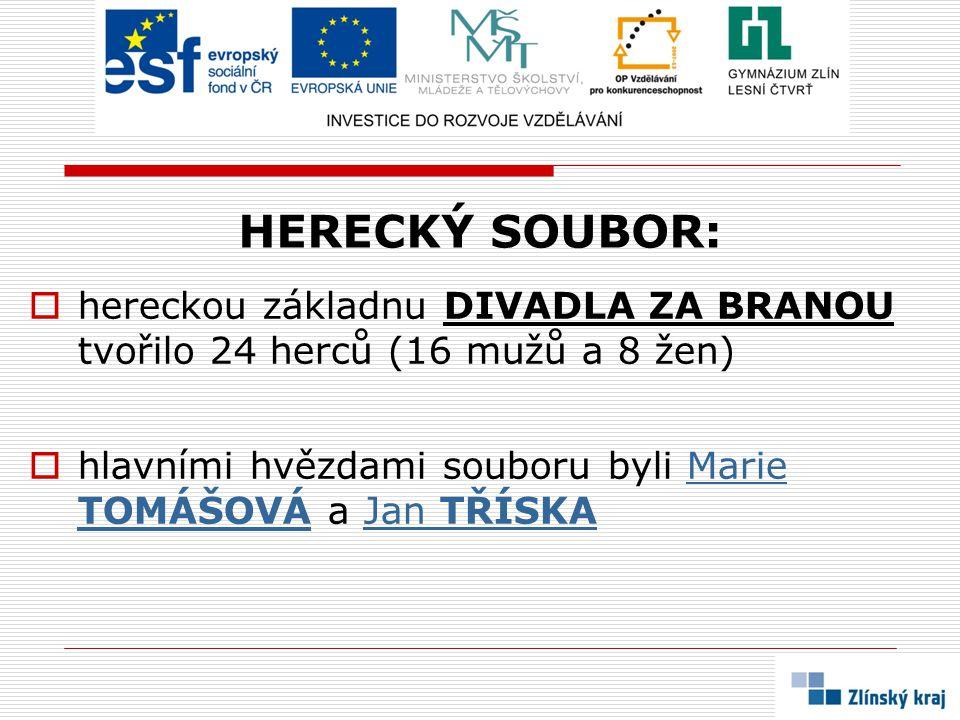 HERECKÝ SOUBOR:  hereckou základnu DIVADLA ZA BRANOU tvořilo 24 herců (16 mužů a 8 žen)  hlavními hvězdami souboru byli Marie TOMÁŠOVÁ a Jan TŘÍSKAM