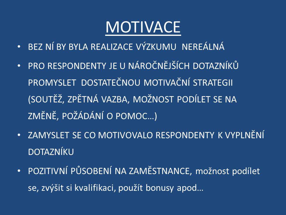 MOTIVACE BEZ NÍ BY BYLA REALIZACE VÝZKUMU NEREÁLNÁ PRO RESPONDENTY JE U NÁROČNĚJŠÍCH DOTAZNÍKŮ PROMYSLET DOSTATEČNOU MOTIVAČNÍ STRATEGII (SOUTĚŽ, ZPĚT