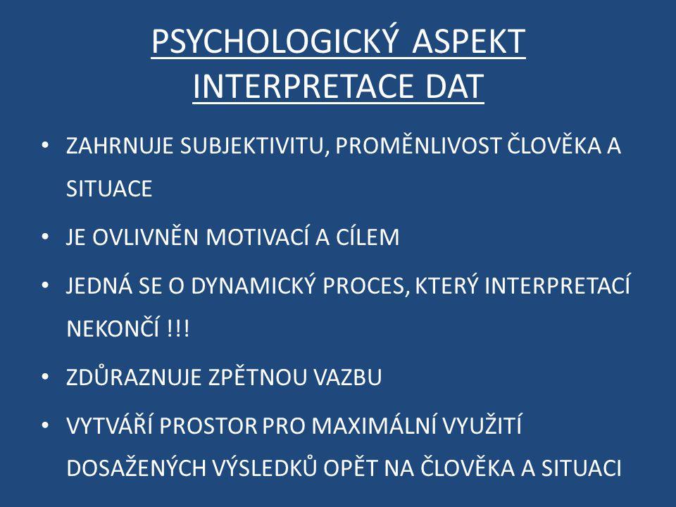 PSYCHOLOGICKÝ ASPEKT INTERPRETACE DAT ZAHRNUJE SUBJEKTIVITU, PROMĚNLIVOST ČLOVĚKA A SITUACE JE OVLIVNĚN MOTIVACÍ A CÍLEM JEDNÁ SE O DYNAMICKÝ PROCES, KTERÝ INTERPRETACÍ NEKONČÍ !!.