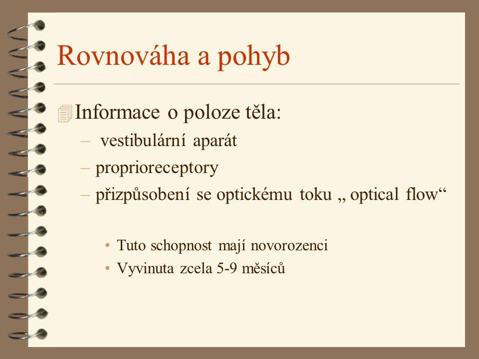 """Rovnováha a pohyb 4 Informace o poloze těla: – vestibulární aparát –proprioreceptory –přizpůsobení se optickému toku """" optical flow"""" Tuto schopnost ma"""