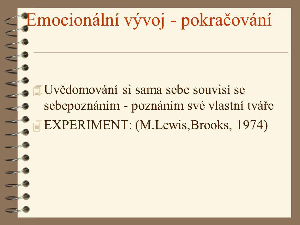 Emocionální vývoj - pokračování 4 Uvědomování si sama sebe souvisí se sebepoznáním - poznáním své vlastní tváře 4 EXPERIMENT: (M.Lewis,Brooks, 1974)
