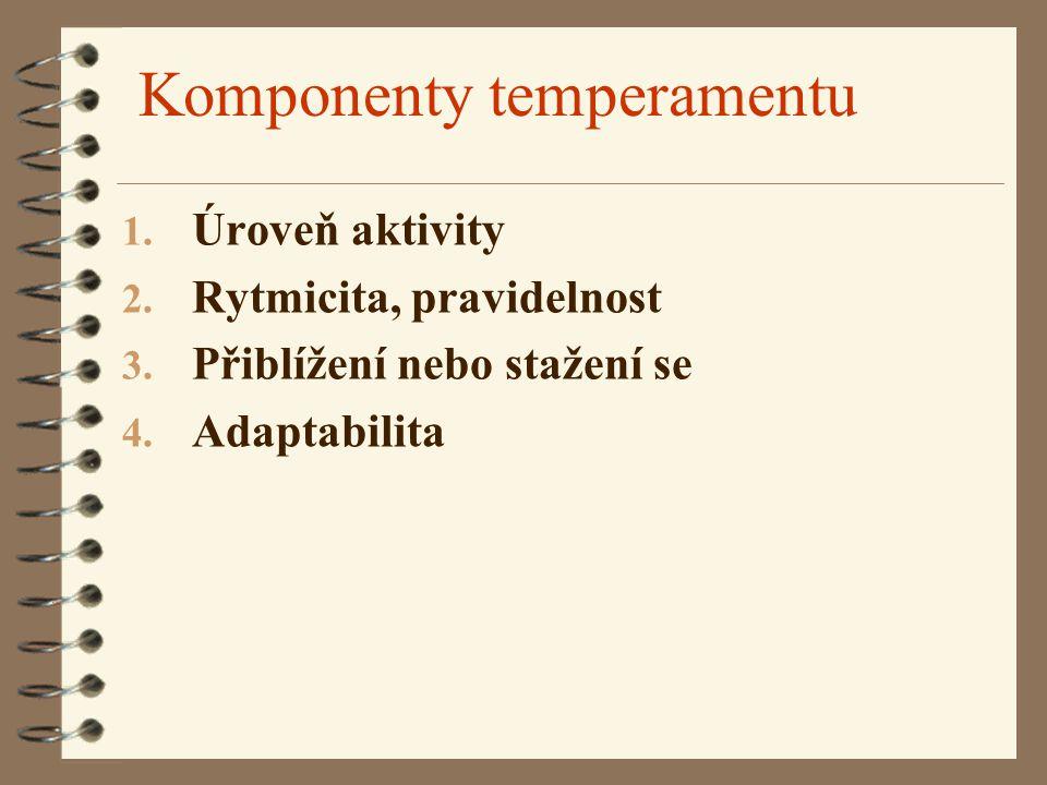 Komponenty temperamentu 1. Úroveň aktivity 2. Rytmicita, pravidelnost 3. Přiblížení nebo stažení se 4. Adaptabilita