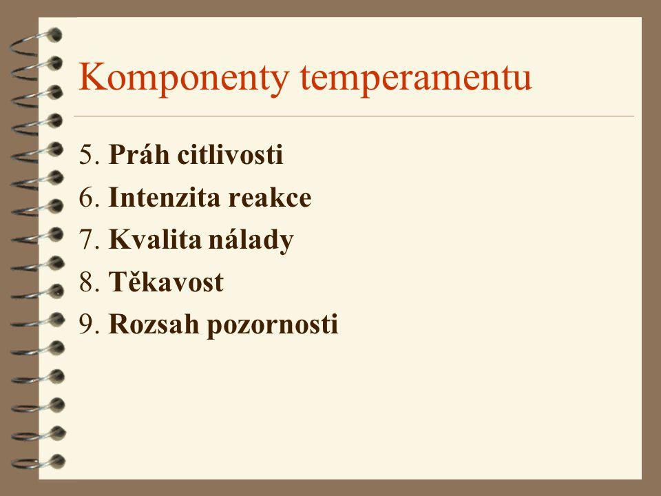 Komponenty temperamentu 5. Práh citlivosti 6. Intenzita reakce 7. Kvalita nálady 8. Těkavost 9. Rozsah pozornosti