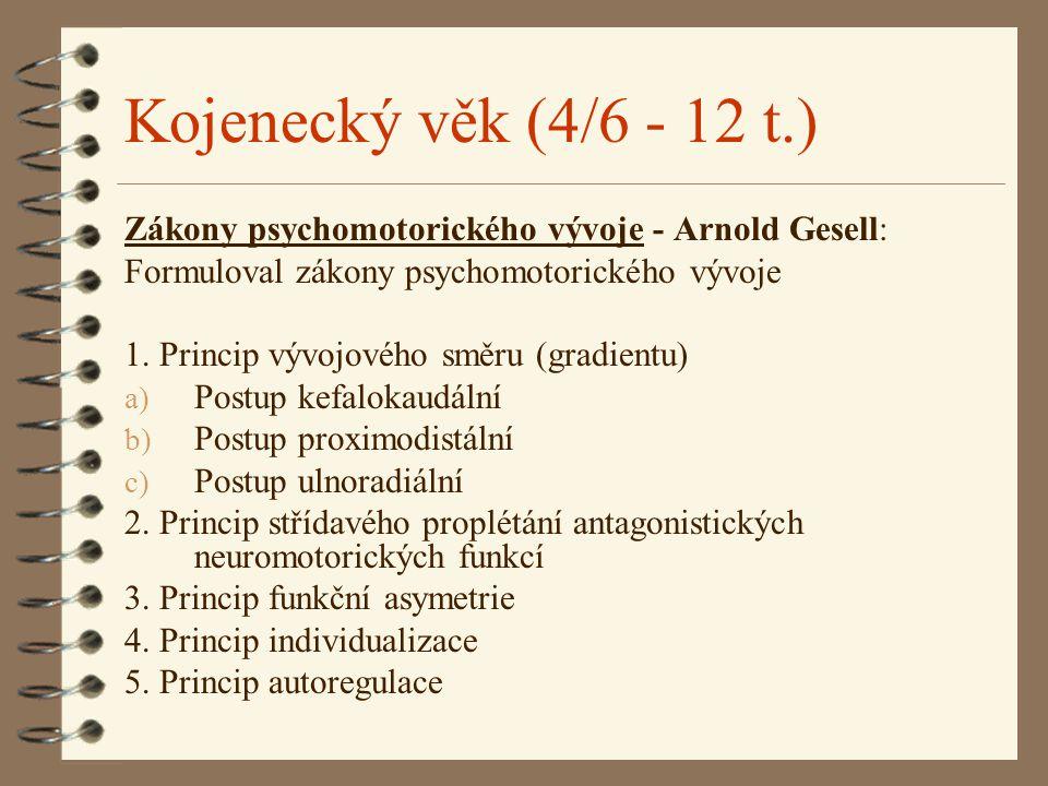 Kojenecký věk (4/6 - 12 t.) Zákony psychomotorického vývoje - Arnold Gesell: Formuloval zákony psychomotorického vývoje 1.