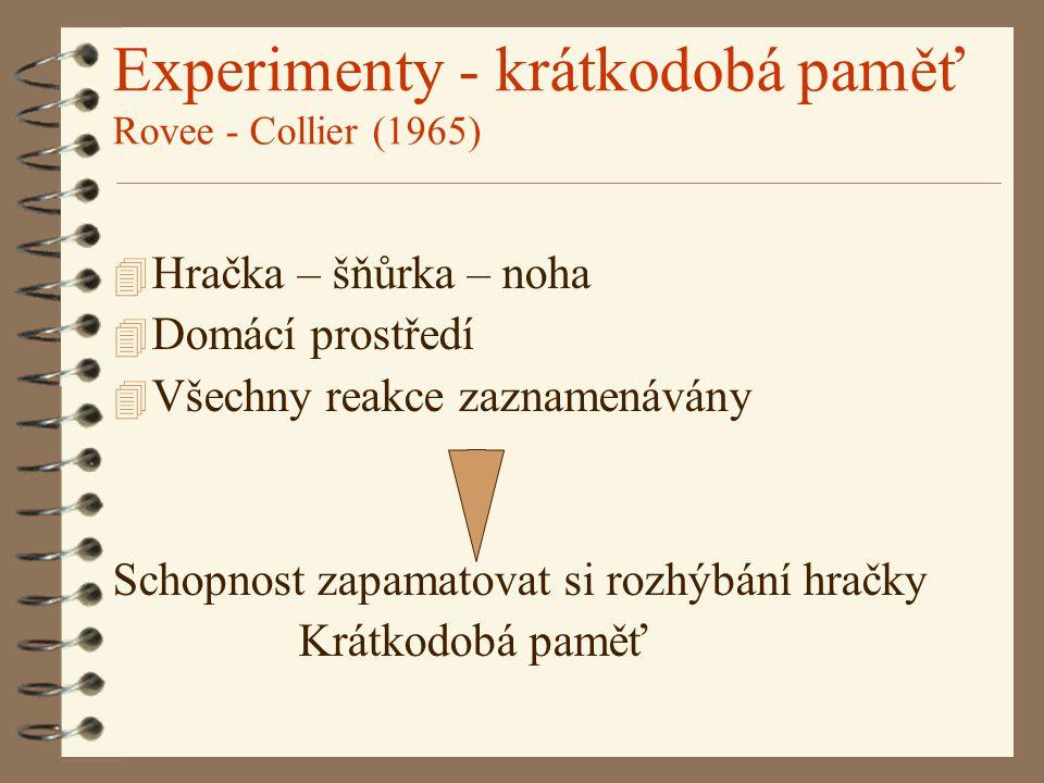 Experimenty - krátkodobá paměť Rovee - Collier (1965) 4 Hračka – šňůrka – noha 4 Domácí prostředí 4 Všechny reakce zaznamenávány Schopnost zapamatovat si rozhýbání hračky Krátkodobá paměť