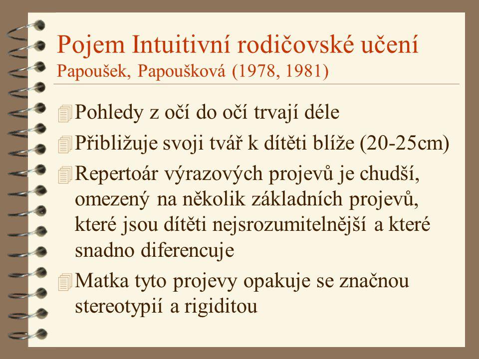Pojem Intuitivní rodičovské učení Papoušek, Papoušková (1978, 1981) 4 Pohledy z očí do očí trvají déle 4 Přibližuje svoji tvář k dítěti blíže (20-25cm) 4 Repertoár výrazových projevů je chudší, omezený na několik základních projevů, které jsou dítěti nejsrozumitelnější a které snadno diferencuje 4 Matka tyto projevy opakuje se značnou stereotypií a rigiditou