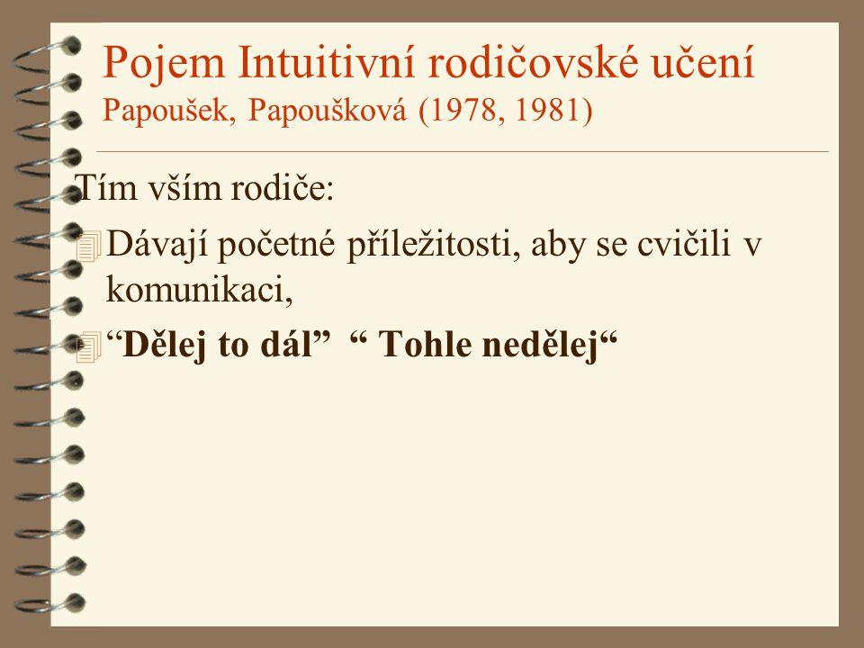 Pojem Intuitivní rodičovské učení Papoušek, Papoušková (1978, 1981) Tím vším rodiče: 4 Dávají početné příležitosti, aby se cvičili v komunikaci, 4 Dělej to dál Tohle nedělej