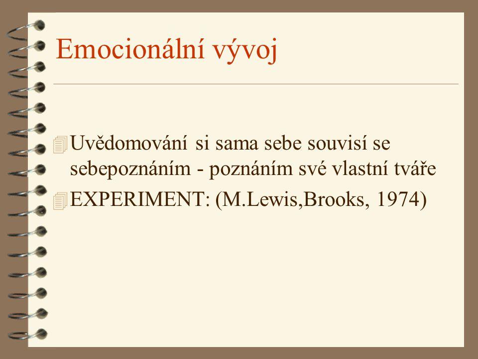 Emocionální vývoj 4 Uvědomování si sama sebe souvisí se sebepoznáním - poznáním své vlastní tváře 4 EXPERIMENT: (M.Lewis,Brooks, 1974)