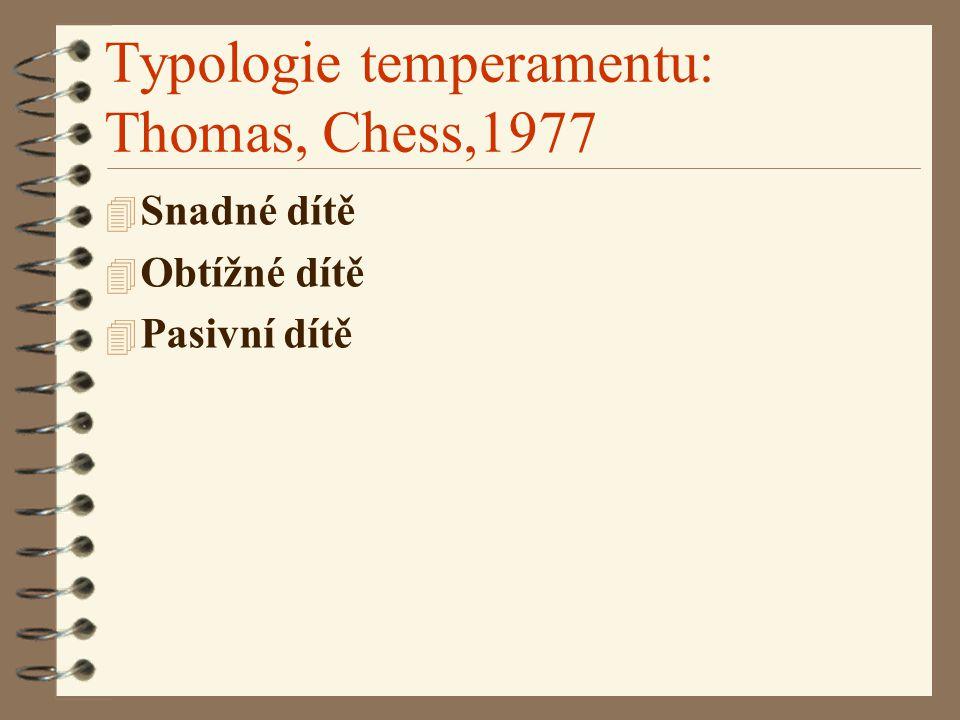 Typologie temperamentu: Thomas, Chess,1977 4 Snadné dítě 4 Obtížné dítě 4 Pasivní dítě