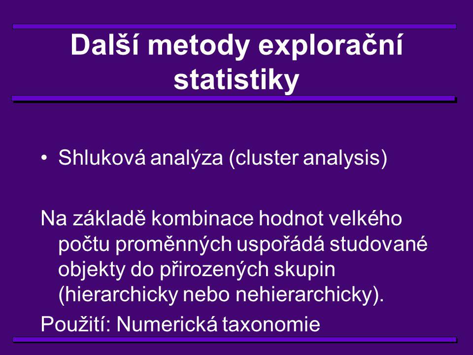Další metody explorační statistiky Diskrimanační analýza Najde kombinaci proměnných na jejichž základě lze rozpoznat příslušnost objektu do některé z předem známých skupin.