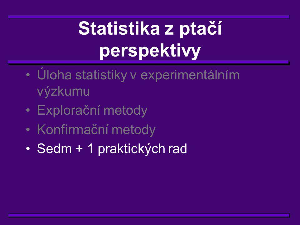 Několik užitečných rad 1) Na statistiku je třeba myslet včas.