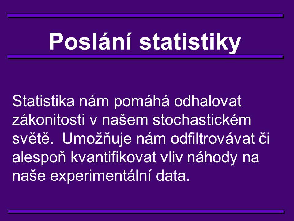 Vlivy náhody na naše data 1) Chyba malých čísel, velikost výběrového souboru (vzorku), reprezentativnost vzorku 2) Studovaný jev (například vliv stáří na tělesnou váhu) může být překryt vlivy jiných (z hlediska studovaného jevu náhodných) faktorů