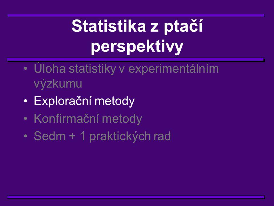 Explorační metody  popisná statistika  zobrazovací metody  shluková analýza  diskriminační analýza  faktorová analýza  a mnohé další