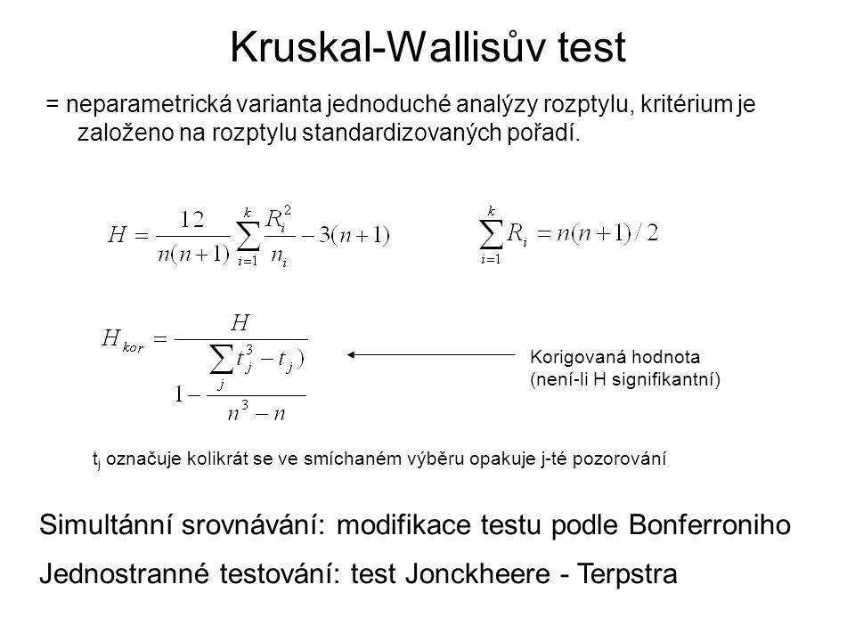 Kruskal-Wallisův test = neparametrická varianta jednoduché analýzy rozptylu, kritérium je založeno na rozptylu standardizovaných pořadí. t j označuje