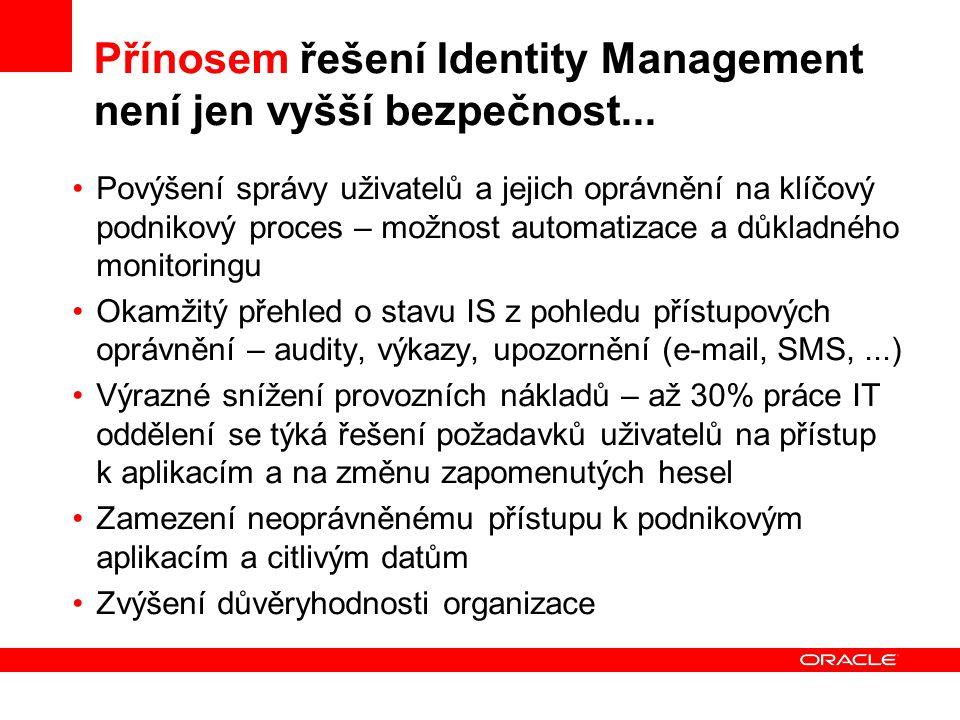 Přínosem řešení Identity Management není jen vyšší bezpečnost... Povýšení správy uživatelů a jejich oprávnění na klíčový podnikový proces – možnost au