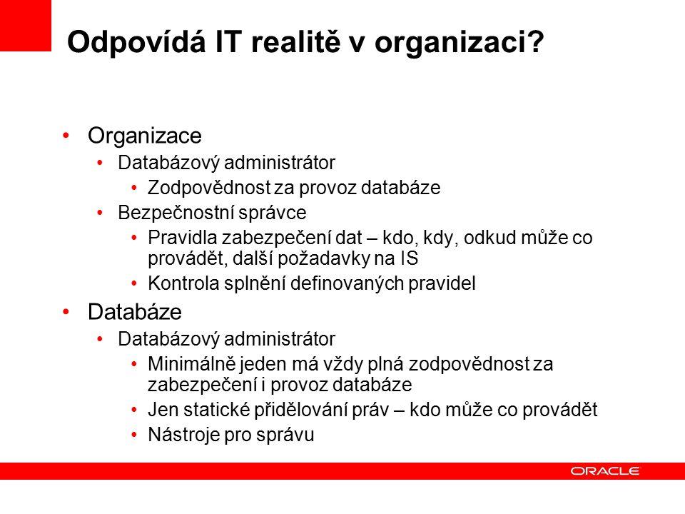 Odpovídá IT realitě v organizaci? Organizace Databázový administrátor Zodpovědnost za provoz databáze Bezpečnostní správce Pravidla zabezpečení dat –