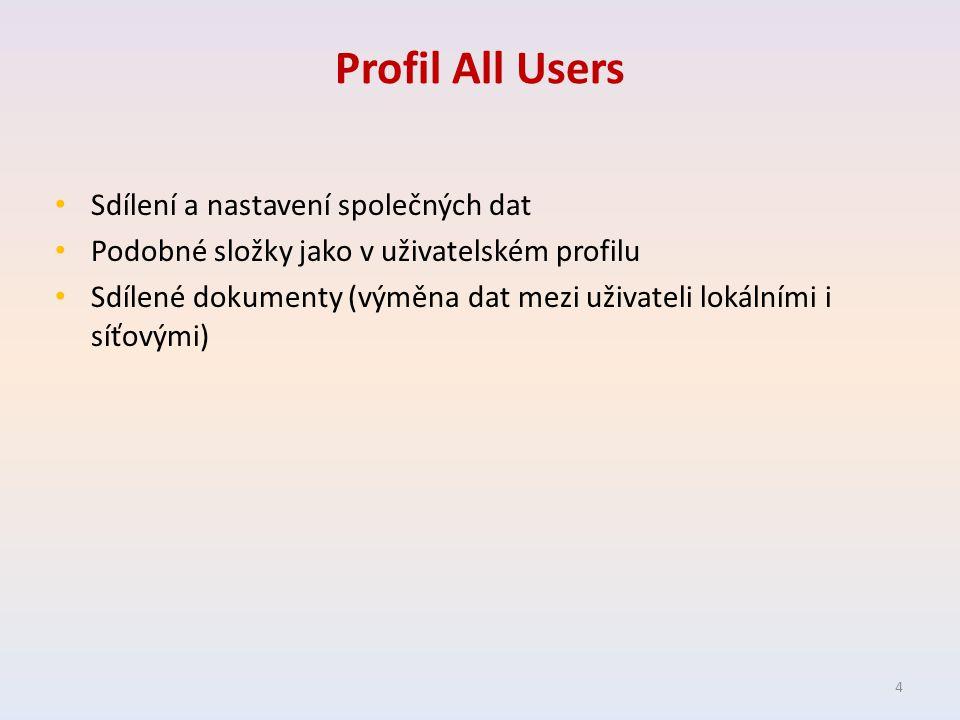 Profil All Users Sdílení a nastavení společných dat Podobné složky jako v uživatelském profilu Sdílené dokumenty (výměna dat mezi uživateli lokálními i síťovými) 4