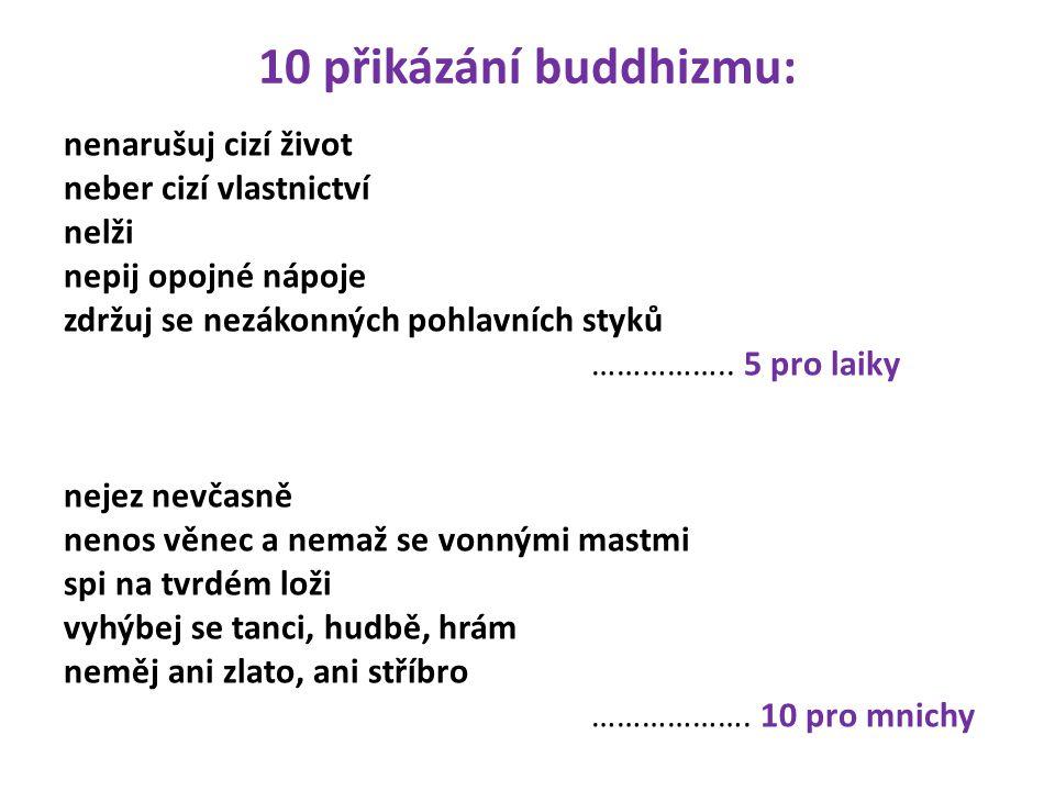 10 přikázání buddhizmu: nenarušuj cizí život neber cizí vlastnictví nelži nepij opojné nápoje zdržuj se nezákonných pohlavních styků ……………..