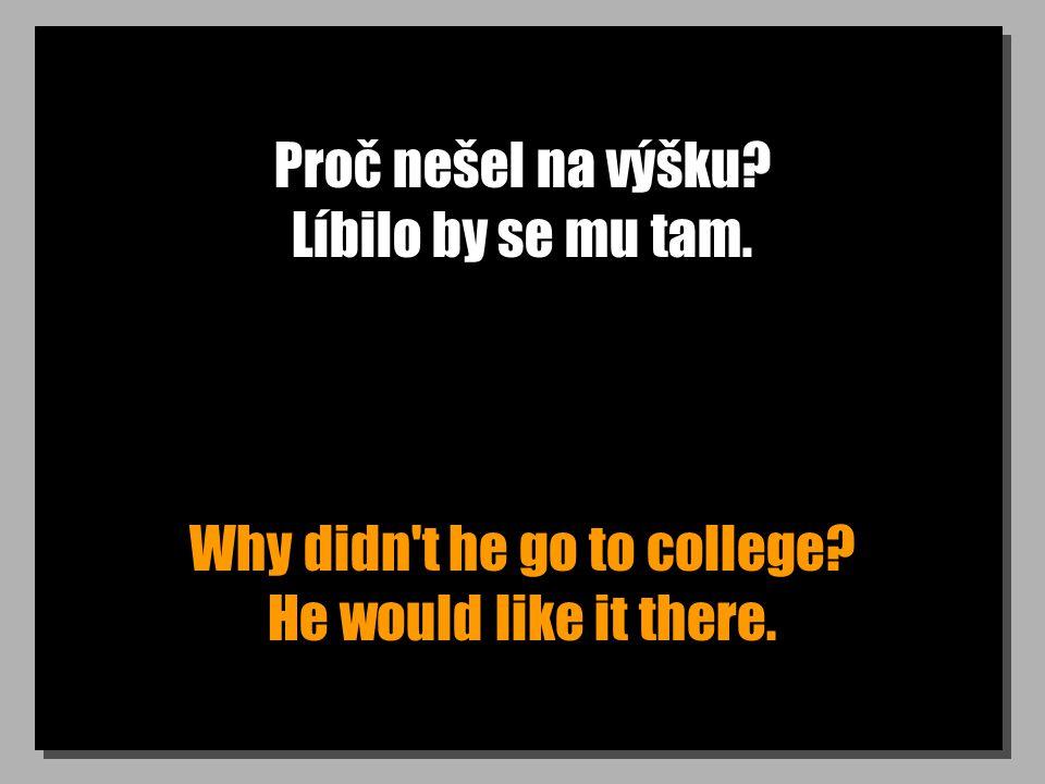 Proč nešel na výšku Líbilo by se mu tam. Why didn t he go to college He would like it there.