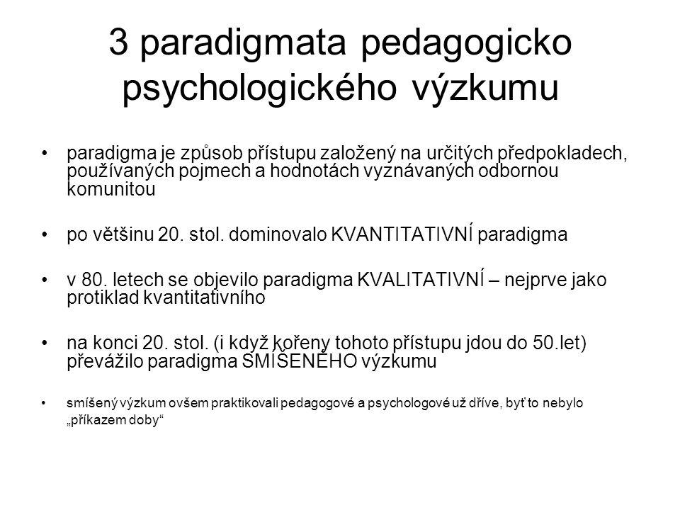 3 paradigmata pedagogicko psychologického výzkumu paradigma je způsob přístupu založený na určitých předpokladech, používaných pojmech a hodnotách vyz