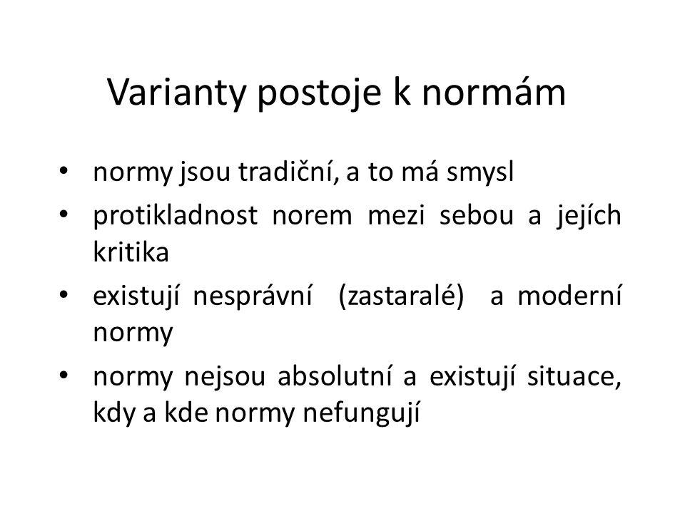 Varianty postoje k normám normy jsou tradiční, a to má smysl protikladnost norem mezi sebou a jejích kritika existují nesprávní (zastaralé) a moderní