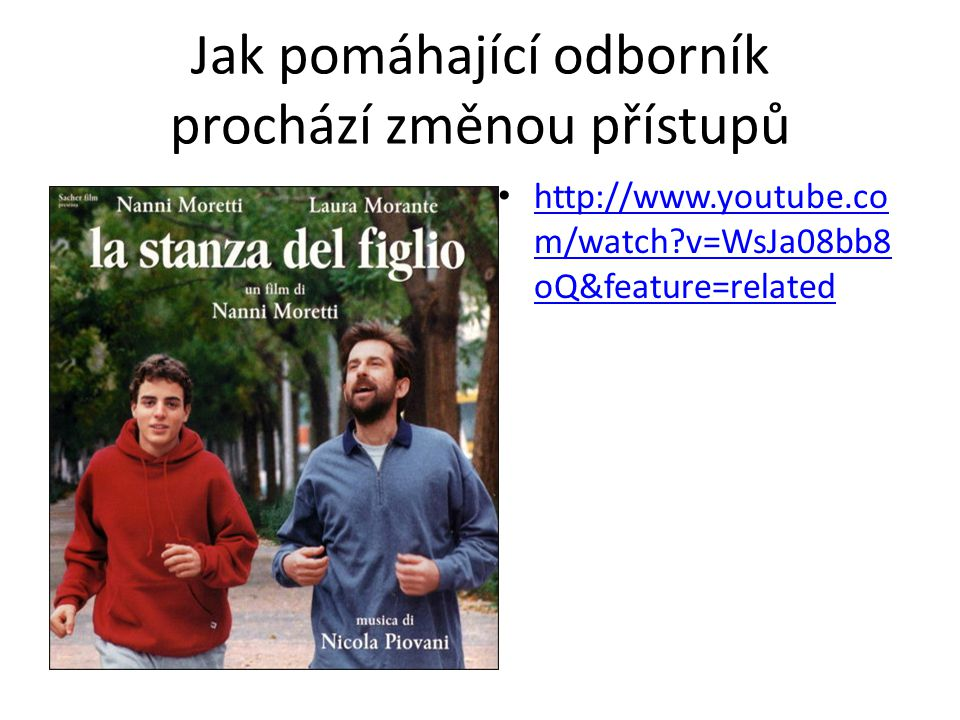 Jak pomáhající odborník prochází změnou přístupů http://www.youtube.co m/watch?v=WsJa08bb8 oQ&feature=related http://www.youtube.co m/watch?v=WsJa08bb8 oQ&feature=related