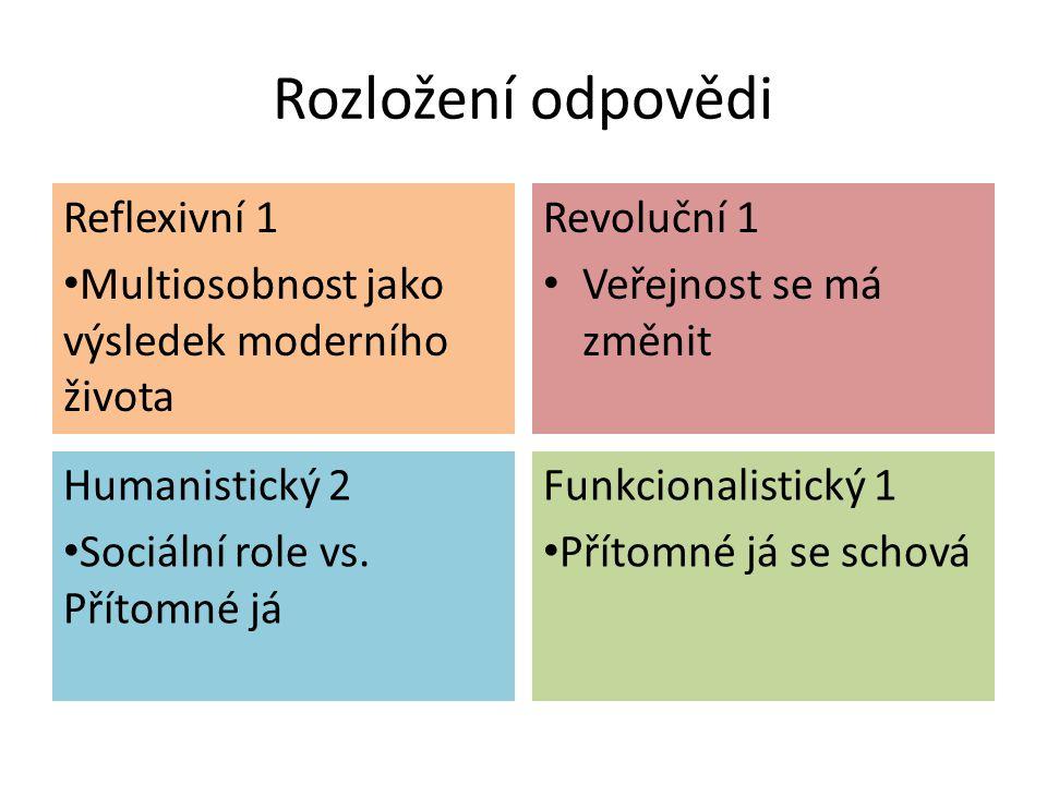 Rozložení odpovědi Reflexivní 1 Multiosobnost jako výsledek moderního života Revoluční 1 Veřejnost se má změnit Humanistický 2 Sociální role vs. Příto