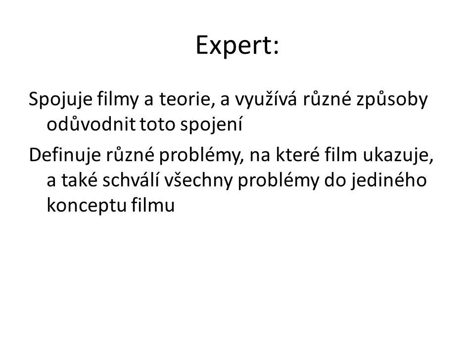 Expert: Spojuje filmy a teorie, a využívá různé způsoby odůvodnit toto spojení Definuje různé problémy, na které film ukazuje, a také schválí všechny