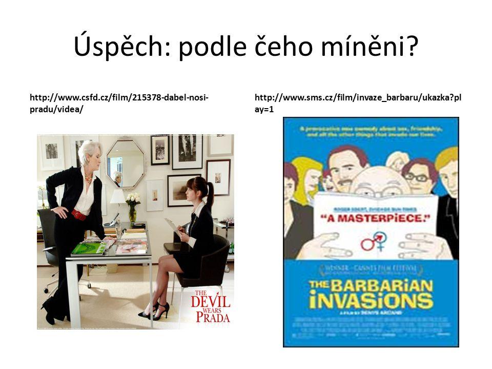 Úspěch: podle čeho míněni? http://www.csfd.cz/film/215378-dabel-nosi- pradu/videa/ http://www.sms.cz/film/invaze_barbaru/ukazka?pl ay=1