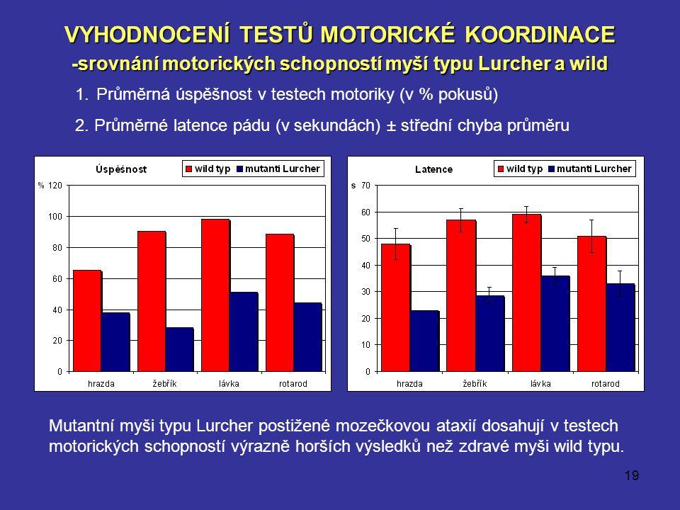 19 VYHODNOCENÍ TESTŮ MOTORICKÉ KOORDINACE -srovnání motorických schopností myší typu Lurcher a wild 1.Průměrná úspěšnost v testech motoriky (v % pokus