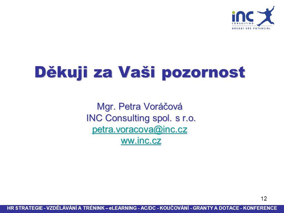 12 Děkuji za Vaši pozornost Mgr. Petra Voráčová INC Consulting spol. s r.o. petra.voracova@inc.cz ww.inc.cz petra.voracova@inc.czww.inc.cz petra.vorac