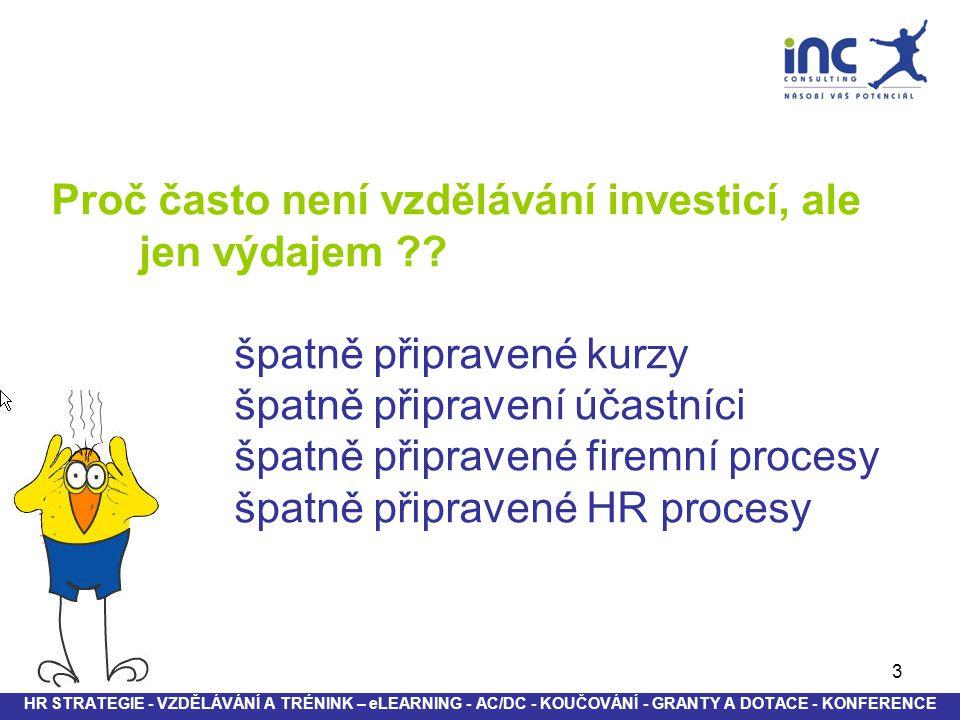 3 Proč často není vzdělávání investicí, ale jen výdajem ?? špatně připravené kurzy špatně připravení účastníci špatně připravené firemní procesy špatn
