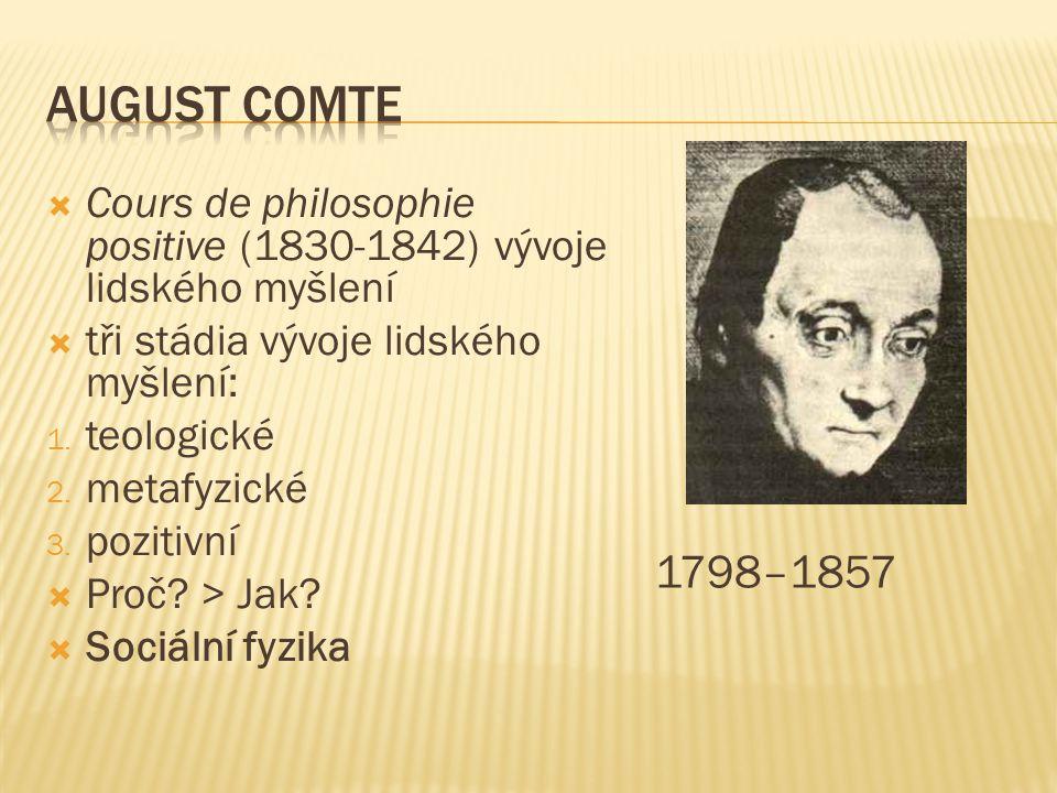  Cours de philosophie positive (1830-1842) vývoje lidského myšlení  tři stádia vývoje lidského myšlení: 1.