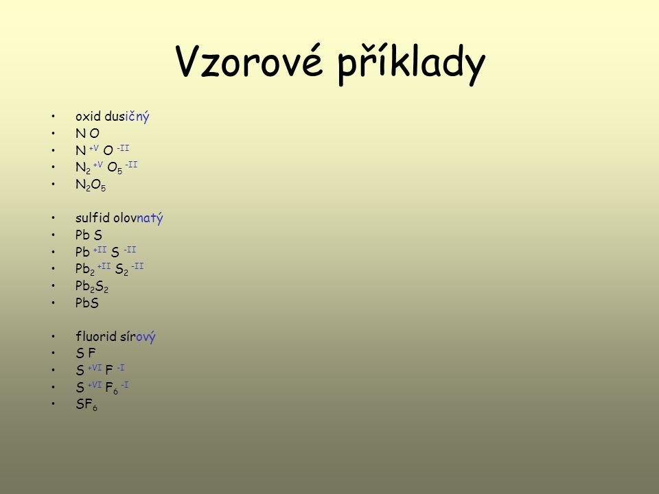 Vzorové příklady oxid dusičný N O N +V O -II N 2 +V O 5 -II N 2 O 5 sulfid olovnatý Pb S Pb +II S -II Pb 2 +II S 2 -II Pb 2 S 2 PbS fluorid sírový S F S +VI F -I S +VI F 6 -I SF 6