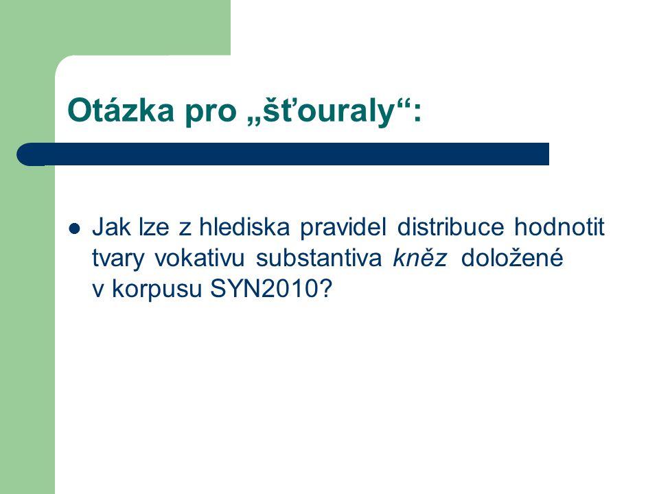 """Otázka pro """"šťouraly : Jak lze z hlediska pravidel distribuce hodnotit tvary vokativu substantiva kněz doložené v korpusu SYN2010"""